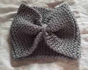 Grey Handknit Headband Ear Warmer