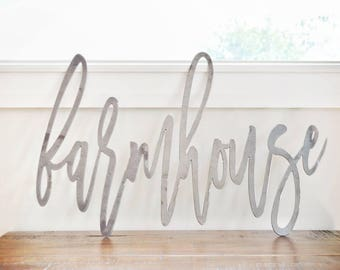 FREE SHIPPING!!! Farmhouse, Metal Sign, Metal wall art, Custom Metal Work, Cursive Writing