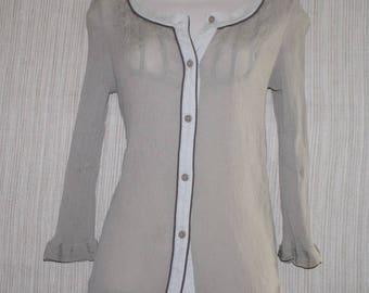 Emanuel Ungaro Gray Beige Silk  Cotton Button Down Women Top Blouse Size: 6 (S)