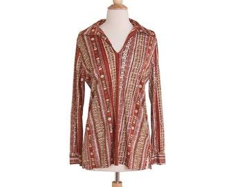 CLEARANCE SALE 1970s Vintage Brown and Orange Batik Tunic, Retro 70s Loose Nylon Hippie Boho Print Blouse by Kolortron Medium Large