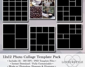 12x12 Photo Template Pack, Photo Collage, Portfolio Templates, Scrapbook Templates, Photography Template, Albums Design, Photoshop, Elements
