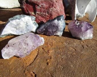 Four Amethyst Crystal Clusters~Druzy~Jewelry Supply~Sobriety~Calmness~#2