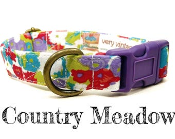 "Modern Vintage Girly Watercolor Purple Lime Pink Floral Flowers Dog Collar - Antique Metal Hardware - ""Country Meadow"""