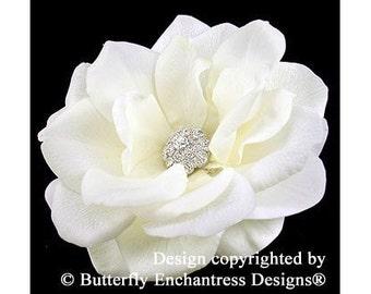 Rhinestone Ivory Natalia Rose Bridal Hair Flower Clip