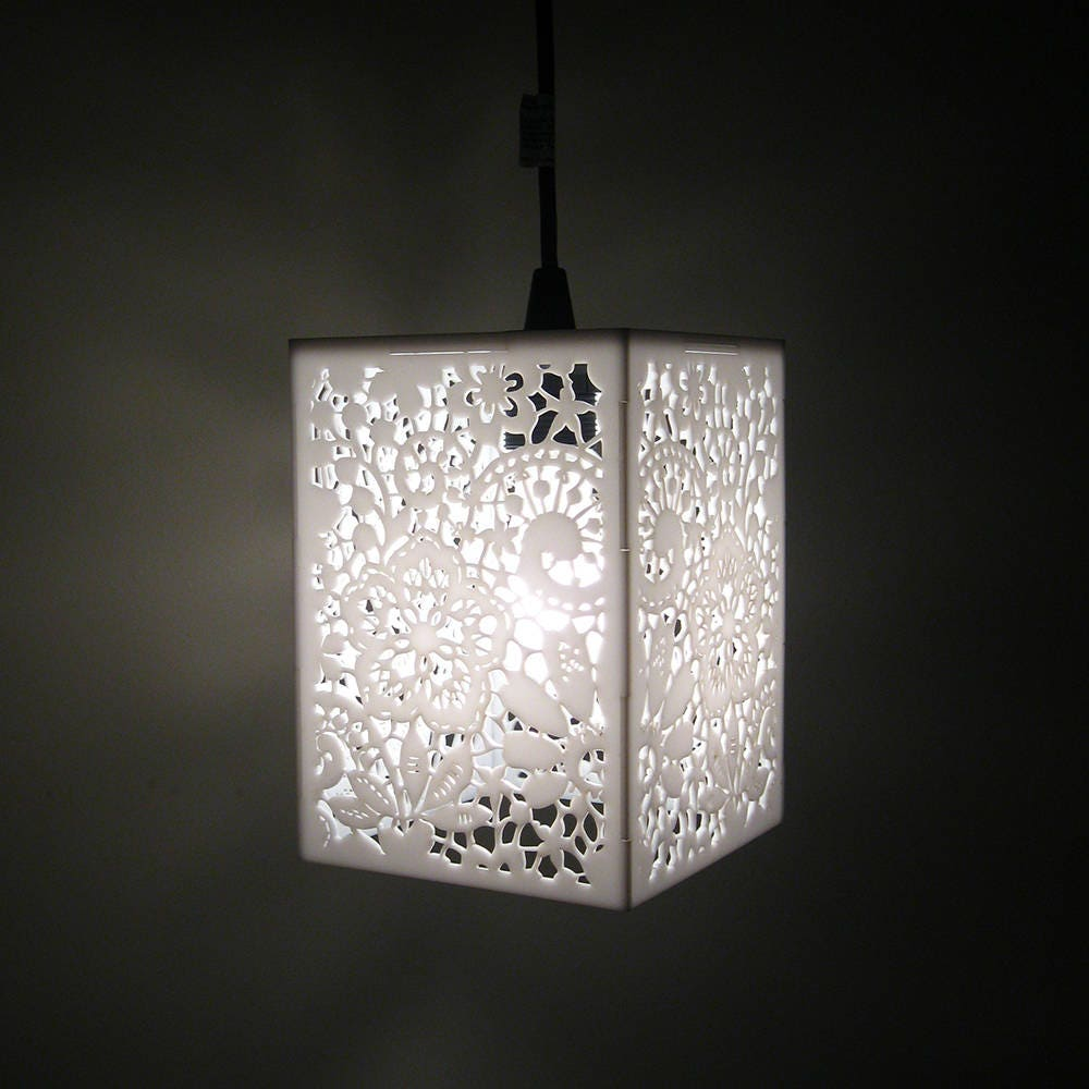 White lace laser cut pendant light white chandelier hanging zoom arubaitofo Image collections