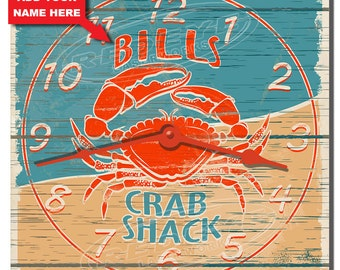 Crab Shack Personalized Kitchen Wall Clock