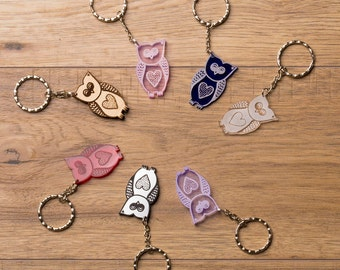 Hand Designed Owl Keyring Acrylic Wooden Locally Made Wedding Favour Baby Shower Gift