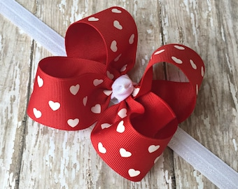 Valentine Headband Valentine Red Heart Headband Red Heart Big Bow Headband Red Baby Headband Red Toddler Headband Large Bow Headband
