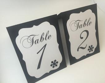Winter Wedding table numbers, snowflake tented table numbers, winter table numbers