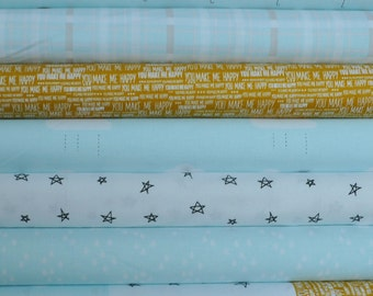 When Skies Are Grey Blue Fat Quarter Bundle by Simple Simon and Company for Riley Blake, 7 pieces