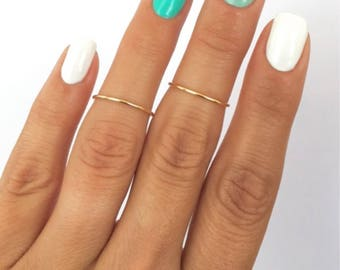 2 Gold Simple Midi Rings. Wear these non tarnish mid knuckle stacking rings in many combinations!