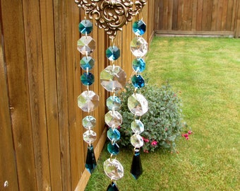 Teal, Aqua Crystal Prism Suncatcher, Mother's Day Gift, 3S-4