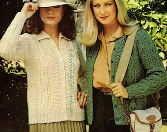 Aran Knitting Pattern PDF Womens Ladies Cardigan with or without collar 32 - 36  Instant Download