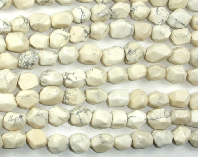 Howlite Beads, Faceted Nugget, 8 x 10 mm, 15.5 Inch, Full strand, Approx 40 beads, Hole 0.8mm (275020001)
