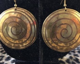 Brass Large Circle with a Swirl Pierced Earrings