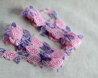 5/8 inch wide Pink+Purple Embroidered Lace Trim price for 1 yard