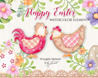 Happy Easter - Watercolor Elements - PNG file