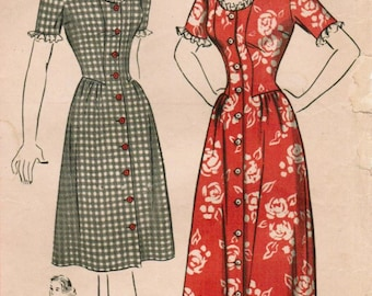 Vintage 1944 Hollywood 1355 Sewing Pattern Misses' Coat-Dress or House-coat Size 14 Bust 32