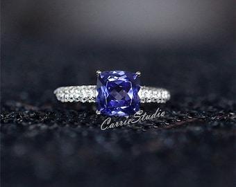 7mm Cushion Lab Tanzanite Ring Tanzanite Engagement Ring/ Wedding Ring Sterling Silver Anniversary Ring Promise Ring