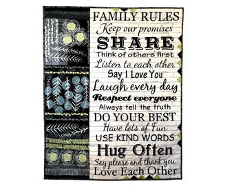 Quilted Wall Hanging, Family Rules Fiber Art, Home Decor Quilt, Modern  Patchwork Wall