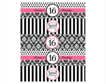 Sweet 16 Personalized Birthday Party Water Bottle Labels - Printable