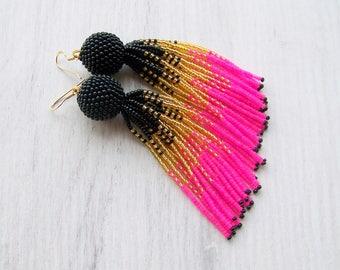 Tassel ombre earrings - Luxury black, gold and hot pink beaded fringe earrings - long tassle earrings - Statement seed beads earrings