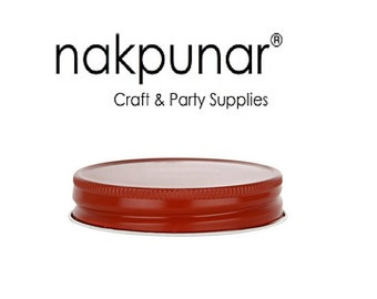 12 pcs Red Mason Jar Caps , Lids - Regular Mouth, One piece with Plastisol Lined