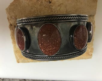 A beautiful sterling moonstone cuff