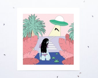 Woman Poster - Alien - Fantastic - Flying Saucer - Digital Illustration - Gift