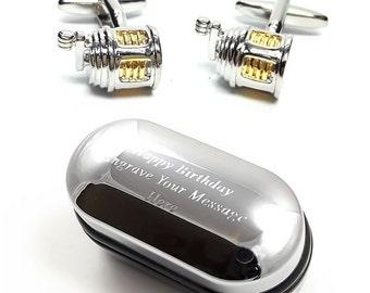 Fishing Gifts, Men's Fishing Reel Cufflinks & Engraved Gift Box (X2PSN125) - Novelty Cufflinks, Quirky Cufflinks, Personalised Cufflink Box