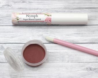 "Rose Lipstick - ""Nymph"" natural sheer burgundy mineral lip color - vegan"