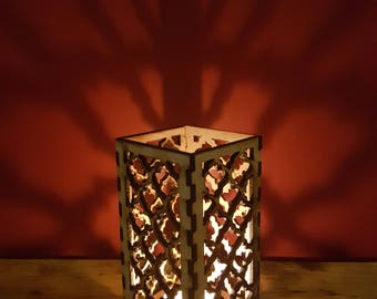 Large wooden laser cut Moroccan tea light holder