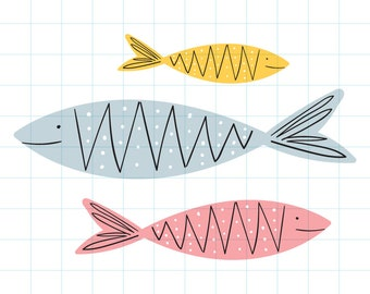 Fish school clipart - Hand drawn instant download PNG graphic - 0001