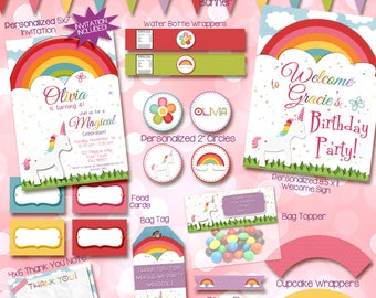 Unicorn Invitation, Unicorn Birthday Invitation, Rainbow Unicorn Birthday Invitation, Unicorn birthday party