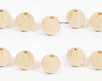 10 x 20mm Natural Round Wooden Beads Jewellery Spacer with 4mm Hole