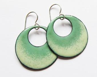 Green enamel hoop earrings Sage green open circle dangles  Bohemian jewelry Silver wire earrings Ready to ship Gift for her