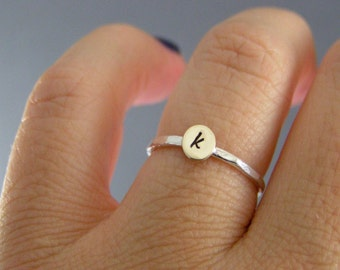 Sweet Initial Ring, Custom Stack Ring, Personalized Ring, Moms Ring, Sterling Silver,  Brass, Custom Initial, Stack Rings, Stack Bands, Midi