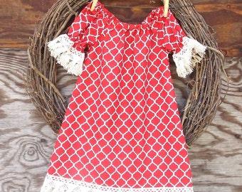 Girls Red Christmas Dress, Girls Fringed Dress, Girls Holiday Dress, Kids Christmas Dress