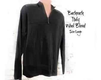 Men's black zip neck sweater, men's Black wool blend sweater - black pullover sweater, men's black boyfriend preppy sweater - large , # 9