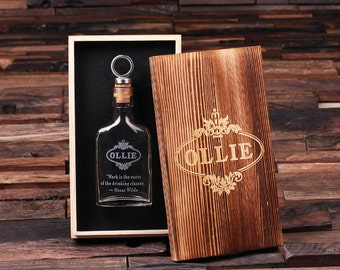 Set of 4 Glass Flask Gift for Men, Groomsmen Whiskey Drinkers with Quotes