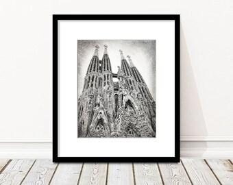 Sagrada Familia, Barcelona, Gaudi, Spain Photography, Travel Decor, Cathedral, Architecture, Black and White, Fine Art Print, Wall Art