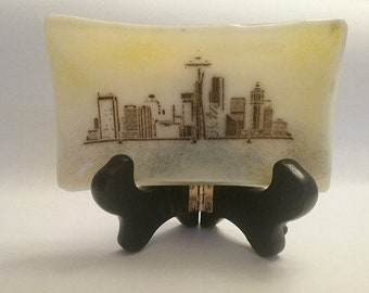 Fused Glass Dish - Seattle Skyline - Souvenir gift - Housewarming Gift - Cityscapes