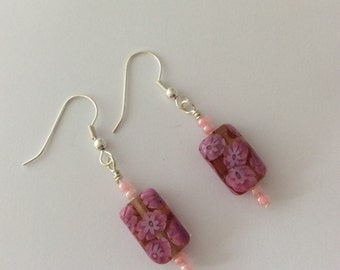 Pink earrings with pink oblong beads and seed beads