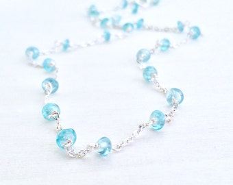 Apatite Necklace, Silver Apatite Necklace, Gemstone Necklace, Ocean Blue