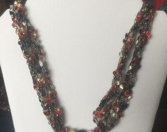 Patriotic ladder yarn necklace