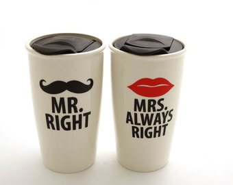 Mr and Mrs travel mug set, personalize, mustache and lips mugs , Mr Right and Mrs Always Right , great wedding gift for couple