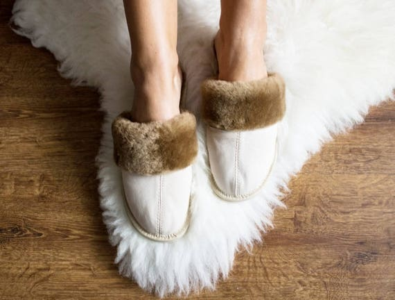 slippers moccasins slippers LEATHER warm SHEEPSKIN sheep white slippers wool fur slippers winter Women 7XUnqdW