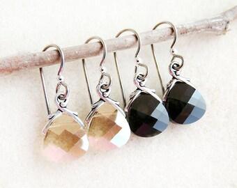 Swarovski Crystal, Drop Earrings, Non-allergenic, Niobium Earwires, Golden Shadow, Jet Black, Silver, Gold, Black, Handmade, Gift for Her