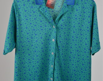 Vintage size 20 Green and Blue Graphic Print 1980s Blouse