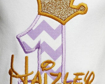 Royal Princess Birthday Shirt or Bodysuit, Baby Girl First Birthday Bodysuit, Baby Girl First Birthday Shirt, Purple and Gold Birthday Shirt